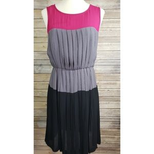 Taylor Color Block Sleeveless Pleated Dress